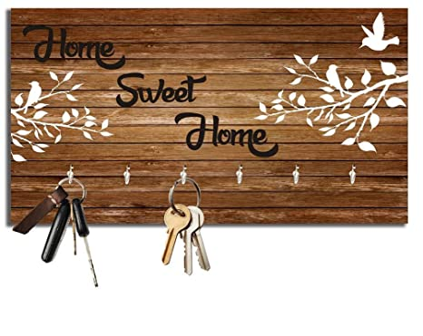 Amazon.com: diollo Home Sweet Home Wooden Key Holder, Wall ...