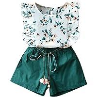 Fossen Ropa Niña Verano 2021-2 3 4 5 6 7 años - Tops de Encaje Estampado + Pantalones Cortos con Cordón - Moderna…