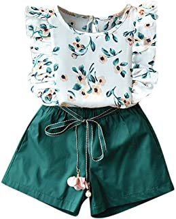 Weant Baby Kleidung Mädchen Keider Festlich Outfits 2PCS Floral Tops + Tie uo Shorts Partykleid Sommerkleid Prinzessin Kleid Kinder Kleider Baby Bekleidungssets Neugeborenen Bekleidungset