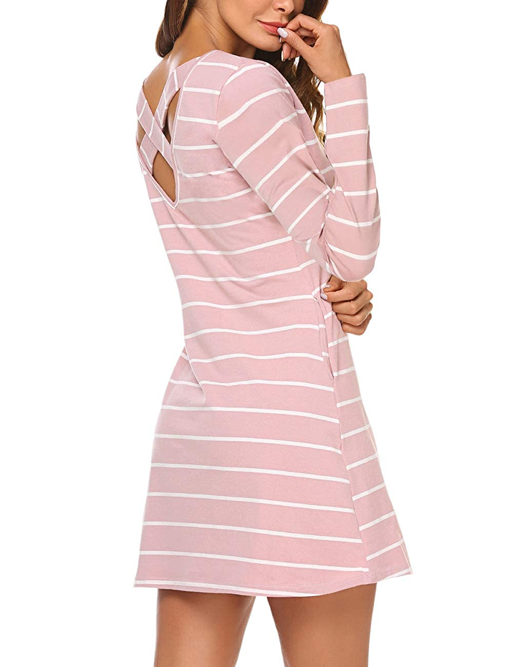 LuckyMore Women's Casual Long Sleeve Criss Cross Back Striped T Shirt Tunic Mini Dress with Pockets