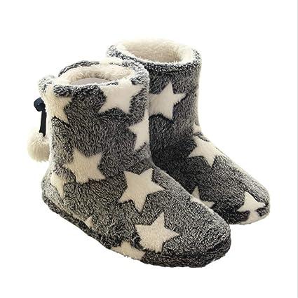 Zapatillas de invierno cálido Diseño clásico de estrellas Zapatillas de mujer para mujer Zapatilla de interior