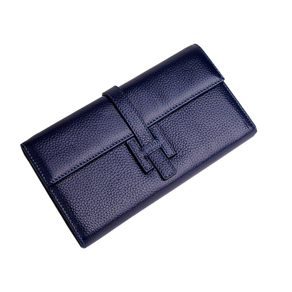 Jonon Women's Genuine Leather Wallets Long Clutch Purses Handbags (Dark blue)
