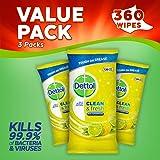 Dettol Power Fresh Multi-Purpose Wipes, Citrus, 360 Wipes, Pack of 3 x 120