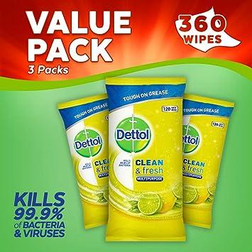 Dettol toallitas limpia y fresca cítricos, pack de 3, 360-count: Amazon.es: Salud y cuidado personal