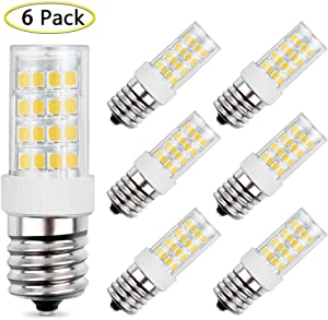 E17 LED Bulb 5W Equivalent to 40W Halogen Bulb, AC 110V-120V Daylight White 6000K for Microwave Oven Appliance, Stovetop Light, Non-Dimmable (6 Pack)