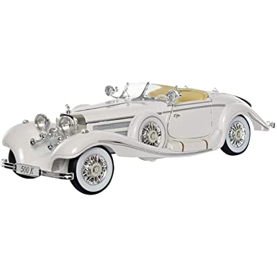 Maisto New 1:18 W/B Premiere Edition - White 1936 Mercedes-Benz 500K Roadster Special White Diecast Model Car: Toys & Games