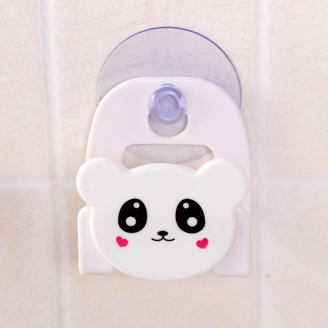 LiPing Cute Animal Series Desktop Dishcloth Rack Dish Cloths Rack Suction Sponge Holder Clip Rag Storage For Kitchen Supplies Cleaning Utensils (White)