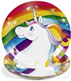 """Custom & Unique {7"""" Inch} 32 Count Bulk Multi-Pack Set of Medium Size Round Circle Disposable Paper Plates w/ Cute Rainbow Unicorn """"Red, Yellow, Green, Blue White & Purple Colored"""" w/ Matching Napkins"""