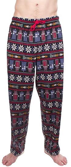 2b27b22b1e Doctor Who Fair Isle Tardis Dalek Snowflakes Black Lounge Pants (Adult  XX-Large)