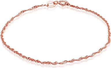 Sterling Silver 925 Rope 1.5mm Link Chain Bracelet 7.25 Inch