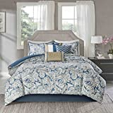 7 Piece Girls Blue Paisley Floral Pattern Comforter Queen Set, Elegant All Over Scrollwork Motif Flowes Theme Bedding, Rich Bohemian Hippie Indie Style, French Country Design, Vibrant Colors