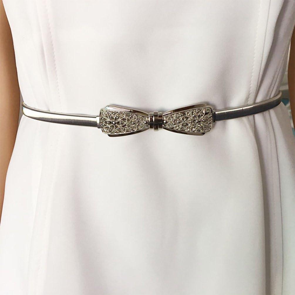 NUREINSS Cinture da Donna Elastico Cintura di Metallo Cintura per Vestito Cintura Chiusura ad Incastro 70-100cm