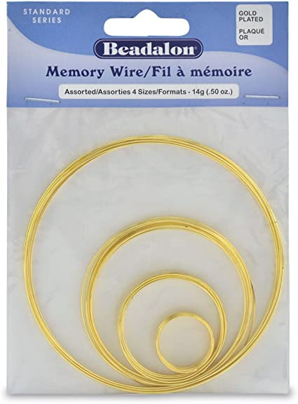 Beadalon Memory Wire Assortment Pack 4-SizeGold Plated 1//2-Ounce
