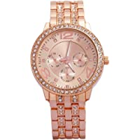 Geneva Platinum Analog Rose Gold Dial Women's Watch-g8027_D