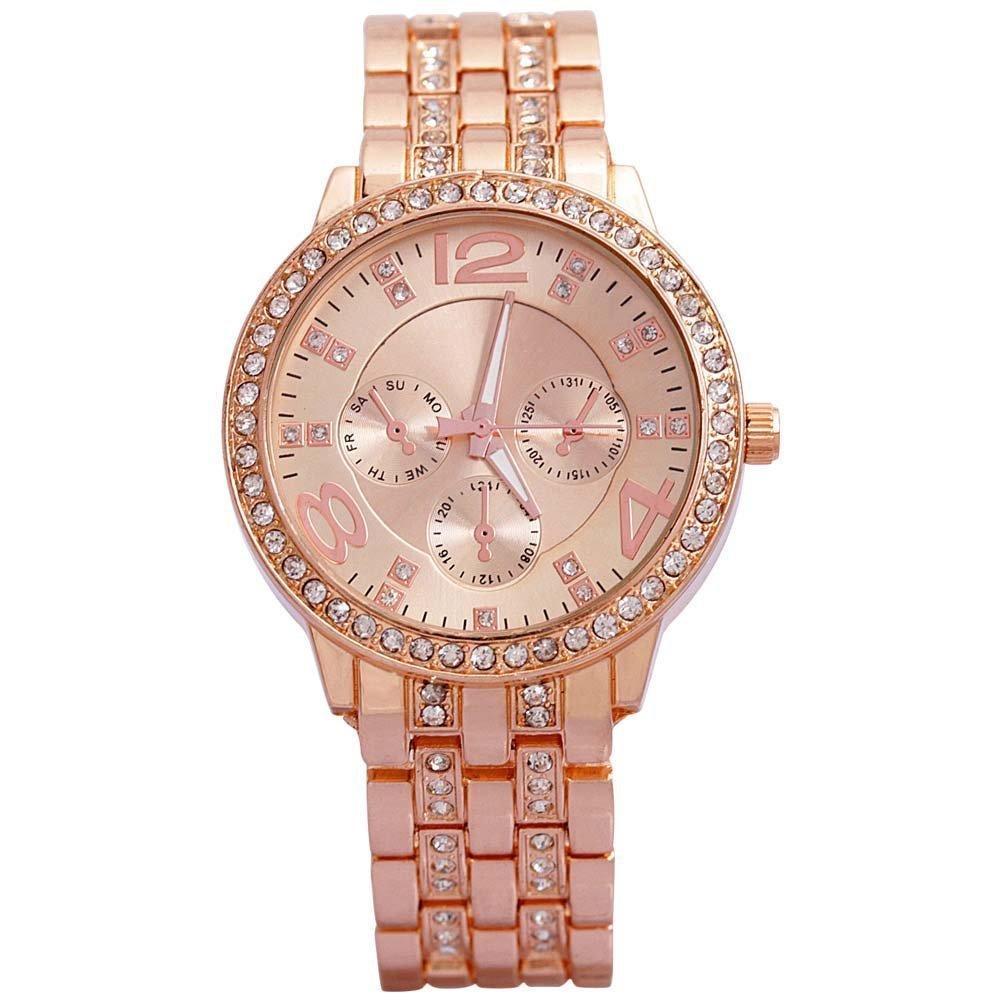Geneva Platinum Analog Rose Gold Dial Women's Watch-g8027_D