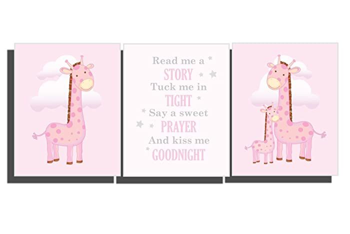 amazon com baby girl pink nursery wall art giraffe pictures girl s