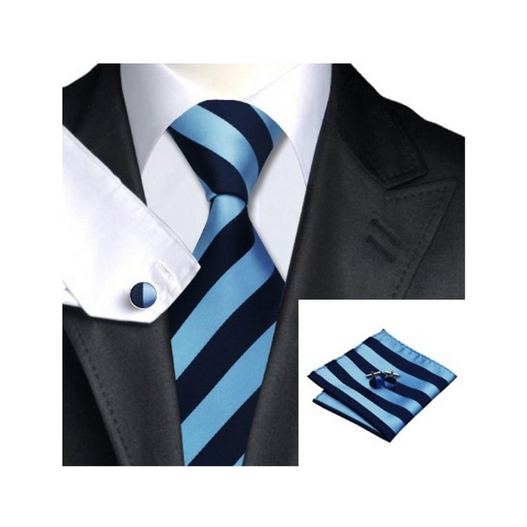 Men's Jacquard Woven Silk Striped Tie Hanky Cufflinks Sets (Series 1)