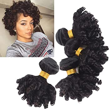 Short Brazilian Funmi Curl Human Hair Bundles Bouncy Curly Afro Kinky Curly Hair Weave Short Hairstyles Unprocessed Spring Curl Hair Extensions 300g
