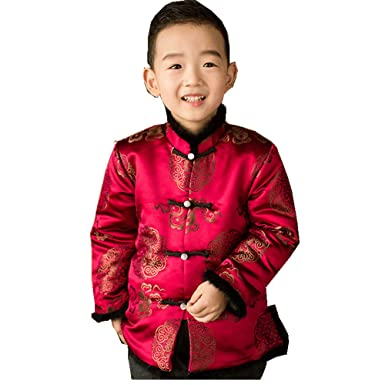 9189b8f1d Chinese Style Costume Children New Year Clothes Coat Boy Traditional  Overcoat Mink Hair (S(