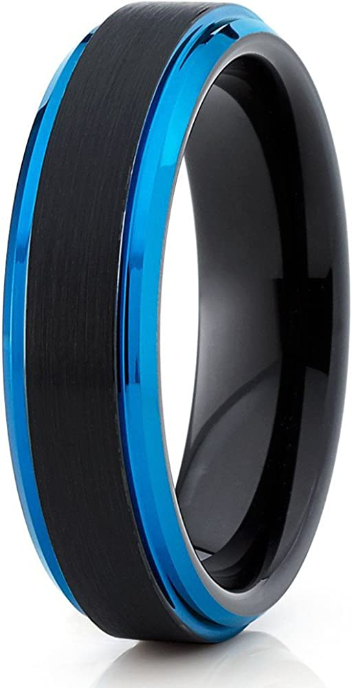 Silly Kings Blue Tungsten Wedding Band Men & Women Tungsten Carbide Ring 6mm Wedding Band Anniversary Ring Comfort Fit