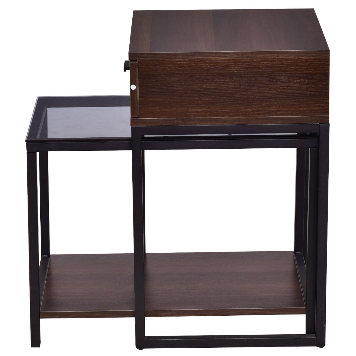 Nesting Table Coffee Table Side Table End Table Metal Frame Wood Glass Top 2PCS by White Bear & Brown Rabbit (Image #2)