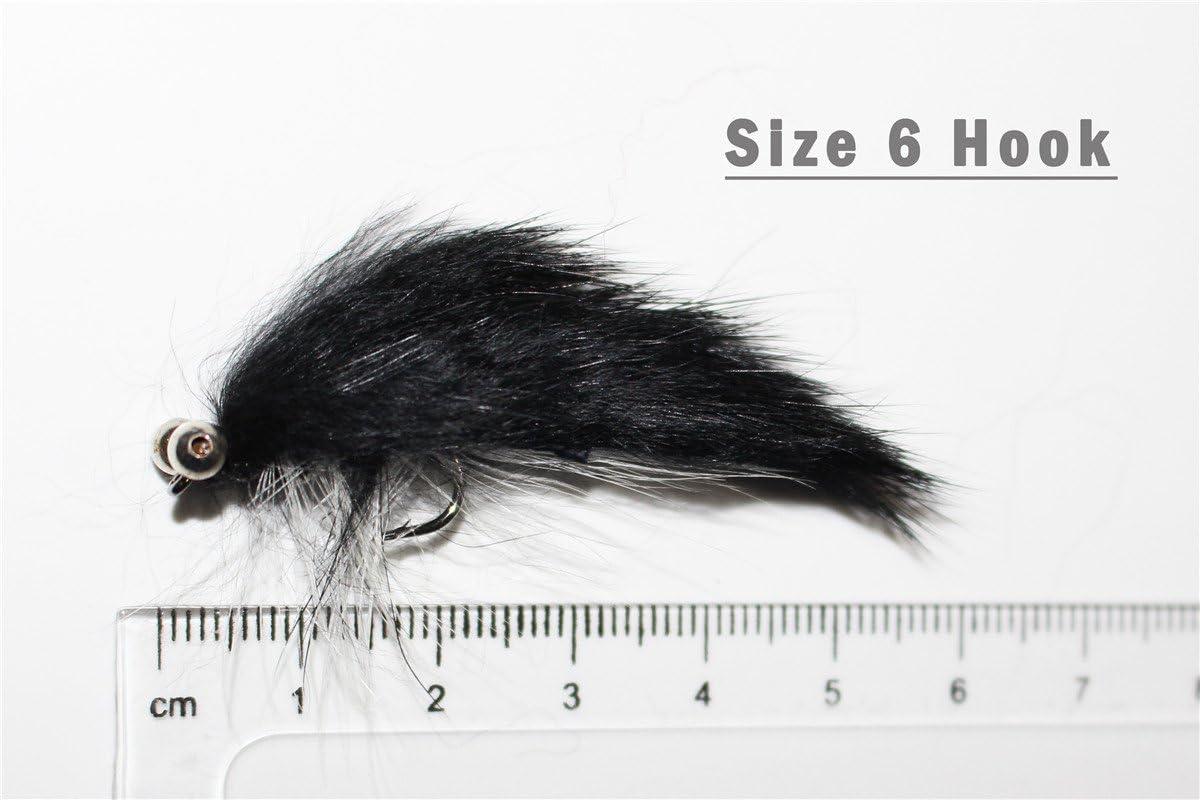 20/x Schwarze Zonker-Streamer-Lockmittel f/ür Forellen-Fliegenfischen.