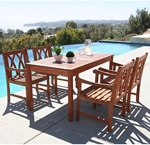 Vifah V98SET44 Malibu Outdoor 5-Piece Wood Patio Dining Set