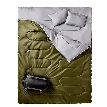 RXF Doble Bolsa de Dormir Engrosamiento de la Envolvente con Almohada para Uso en Interiores o Acampar al Aire Libre, Senderismo, Pesca de Viaje: Amazon.es: ...
