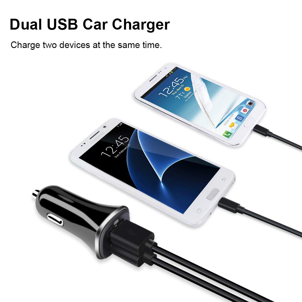 HTC Sony Phone Car Charger Nokia FiveBox 2-Pack 3.4A Dual USB Universal Car Charger Adapter Block Box Case for Android Moto iPhone X 8 7 6S 6 Plus,Samsung Galaxy S9 S8 S7 S6 Edge,LG G6 G5 V20