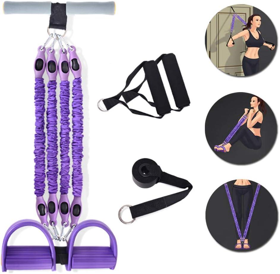 GANZTON Fitness Pedal Exerciser Tummy Trainer 4 Tubes Foot Pull Purple