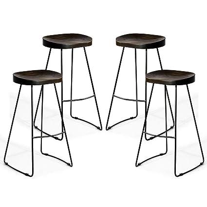 Fantastic Amazon Com Ayamastro 4Pcs 18 L Armless Bar Stool Wood Machost Co Dining Chair Design Ideas Machostcouk