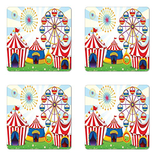 Ambesonne Ferris Wheel Coaster Set of Four, Illustration of a Carnival with Striped Tents Ring of Fire Starbursts Pattern, Square Hardboard Gloss Coasters for Drinks, Multicolor