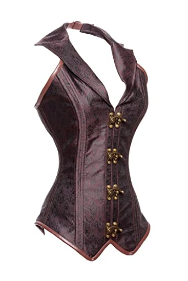 Steampunk Corsets & Belts | Underbust, Overbust Charmian Womens Steampunk Rock Retro Halter Spiral Steel Boned Vest Corset Top $38.89 AT vintagedancer.com