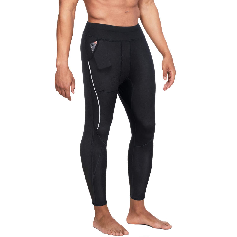 Black 4 pants XXXLarge Wonderience Men Neoprene Slimming Pants for Weight Loss Hot Thermo Sauna Sweat Capri Fitness Workout Body Shaper