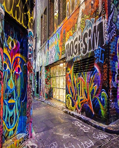 Backdrop City Hip Hop (AOFOTO 8x10ft Street Graffiti Wall Photography Background Grunge Colorful City Alley Backdrop Fashion Party Decoration Punk Music Rock Concert Hip Hop Rap Fashion Portrait Photo Studio Props)