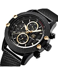 BENYAR Watches, Mens Sport Watch Waterproof Date Quartz Wrist Watch in Black Mesh belt