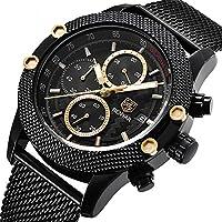BENYAR Watches, Mens' Sport Watch Waterproof Date Quartz Wrist Watch in Black Mesh belt