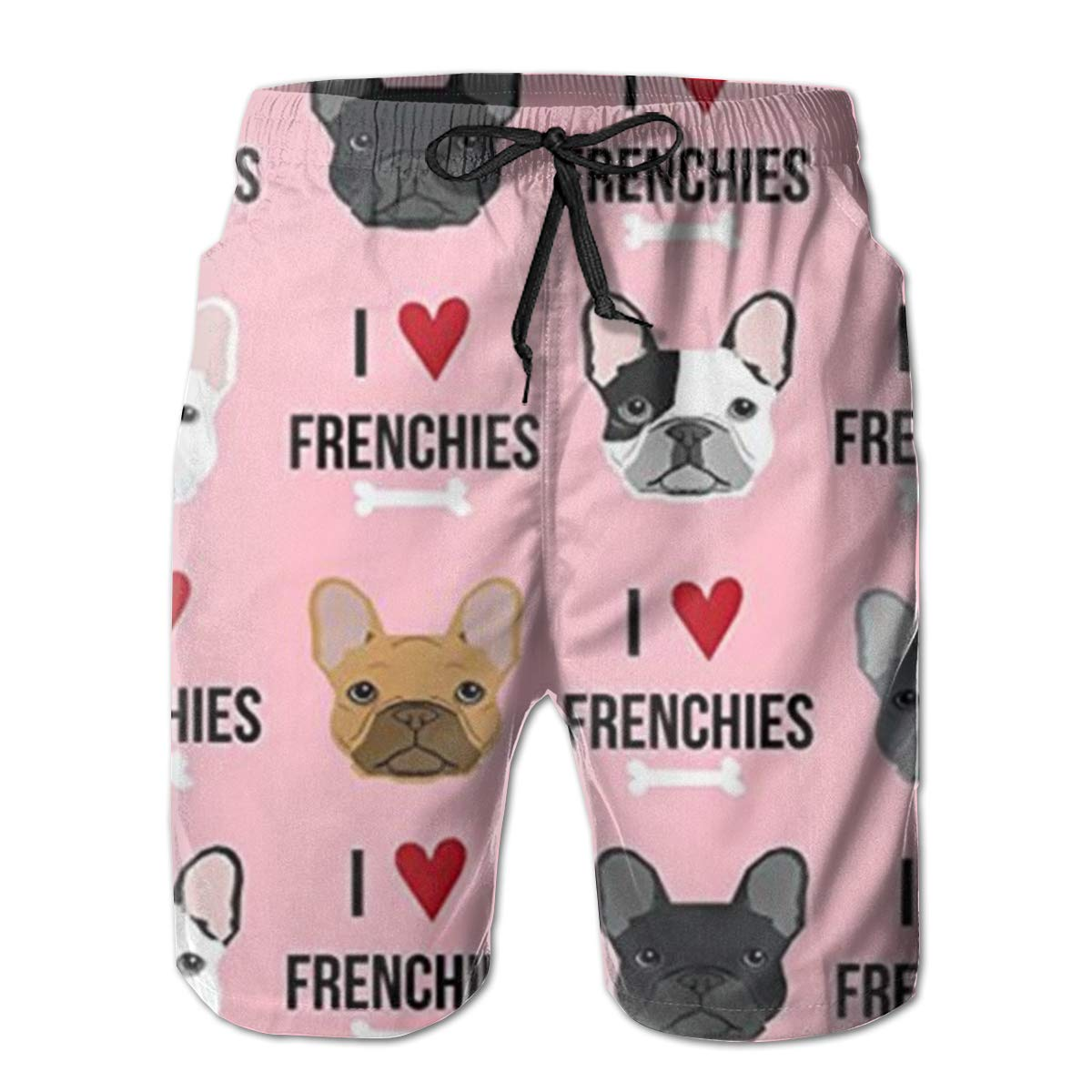 TR2YU7YT I Love French Bulldogs Casual Mens Swim Trunks Quick Dry Printed Beach Shorts Summer Boardshorts Bathing Suits with Mesh Lining