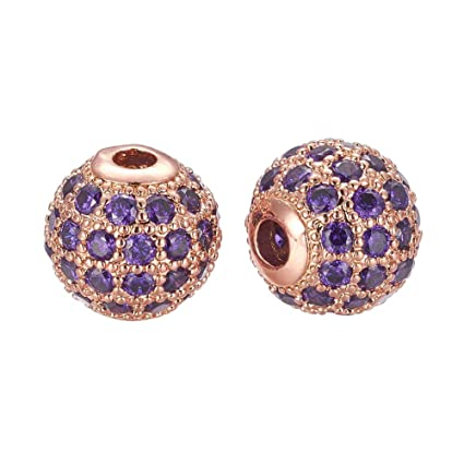 abba86e3e NBEADS 1PC 8mm Rose Gold Metal Purple Cubic Zirconia Brass Pave Micro  Setting Round Beads Disco