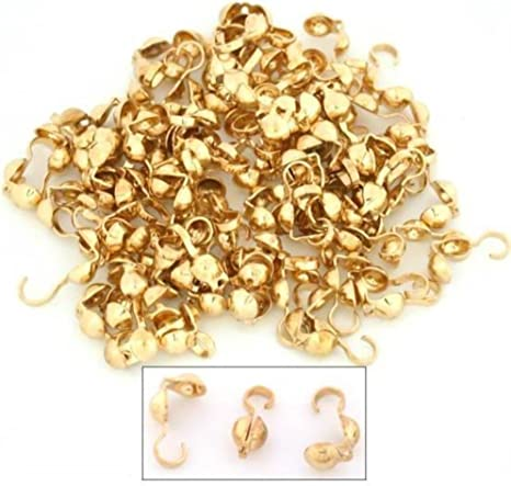 300pcs Top Quality Silver Clamshell Calotte End Cap Endcaps Knot Cover 9mm Copper Brass Bead Tips for Jewelry Craft Making CF82