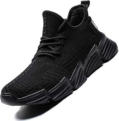 Kapsen - Zapatillas de running para hombre, de malla, transpirables, ligeras, modernas, deportivas, informales, para entrenar, caminar, Negro (Negro (4-black)), 46 EU: Amazon.es: Zapatos y complementos