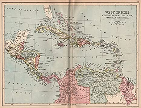 Amazon.com: CARIBBEAN. West Ins Cent. America Columbia ... on america map panama, america map colorado, america map grenada, america map spain, america map mississippi, america map el salvador, america map uruguay, america map arizona, america map italy, america map brazil, america map jamaica, america map bahamas, america map georgia, america map texas, america map honduras, america map north america, america map philippines, america map canada,