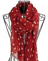 HuaYang Sexy femmes rétro Polka Dot style écharpe foulard en mousseline de soie(Rouge)