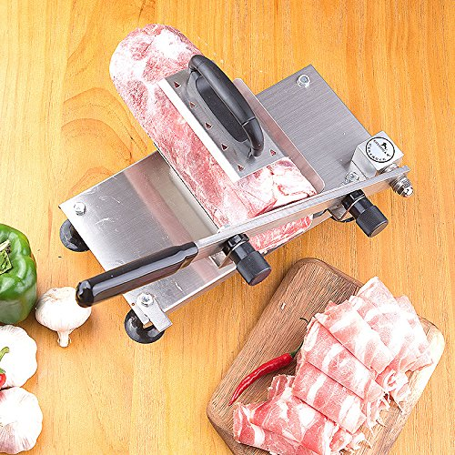 CGOLDENWALL Household Stainless Steel Meat Slicer Manual Frozen Beef Mutton Slicing Machine Vegetable Meat Cutter for Hot Pot BBQ Thickness Adjustable 0.5mm-25mm by CGOLDENWALL (Image #3)