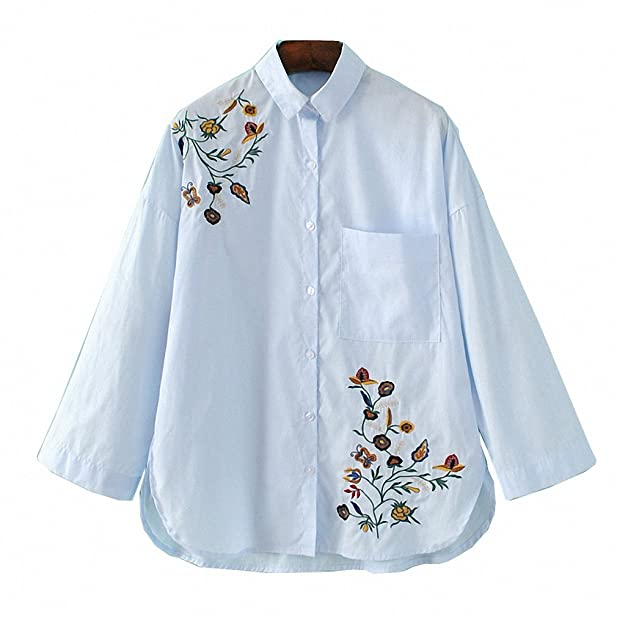 NEW Spring Vogue Women Clothing Floral Embroidered Casual Blouse Loose Lapel Slim Pocket Shirt Long Sleeve Female Blouses at Amazon Womens Clothing store: