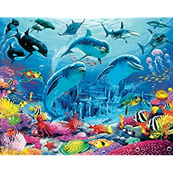 Walltastic sea adventure wall mural home for Dolphin paradise wall mural