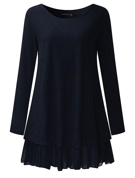 3b48e3a2e6aa CHAGANA Donna Maglione Invernale Maglia Pizzo Vestito Corto Girocollo  Elegante Casual Moda Maniche Lunghe  Amazon.it  Abbigliamento