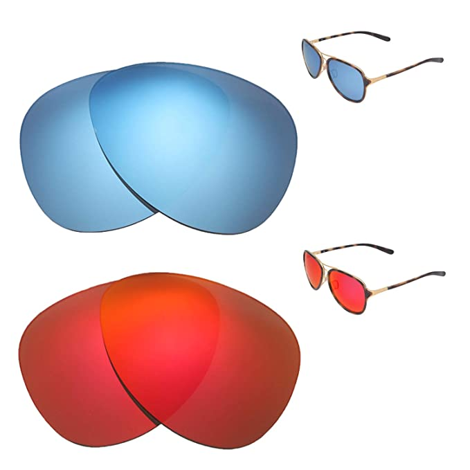 afa3a01851 Image Unavailable. Image not available for. Color  Walleva Polarized Fire  Red + Ice Blue Replacement Lenses For Oakley Kickback Sunglasses