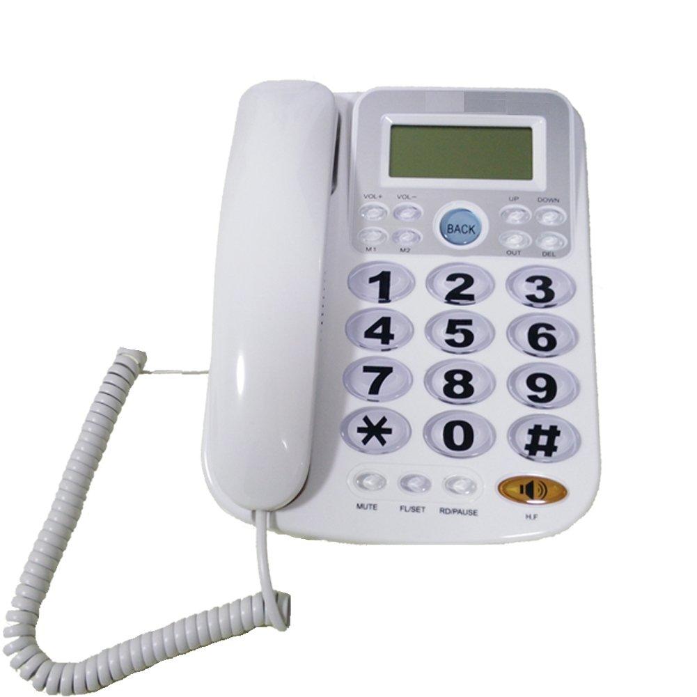LeeKerTel Big Button Corded Phone for Elderly with Caller ID Speed Dial Alarm Function Landline Telephone for Seniors(White, P034W)