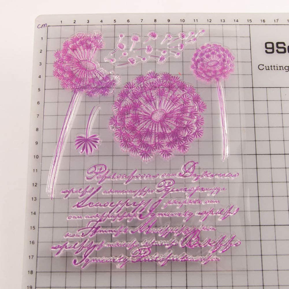 5.5 by 7.1 Inches Dandelion Flower Leaves Stamps Words Letters Clear Rubber Stamps for Scrapbooking Card Making Thanksgiving Clear Stamps